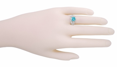 Edwardian Natural Blue Zircon Filigree Ring in 14 Karat White Gold - December Birthstone - Item R397 - Image 2