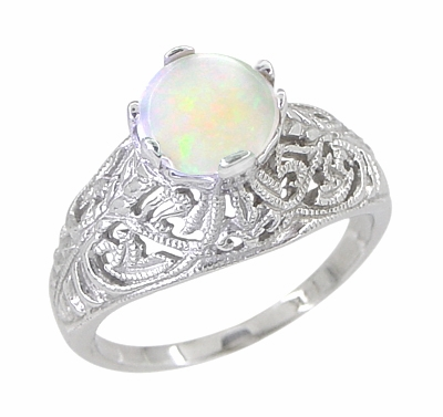Edwardian Opal Filigree Ring in 14 Karat White Gold - Item R137o - Image 1