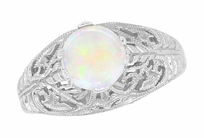 Edwardian Opal Filigree Ring in 14 Karat White Gold - Item R137o - Image 2
