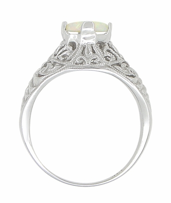 Edwardian Opal Filigree Ring in 14 Karat White Gold - Item R137o - Image 3