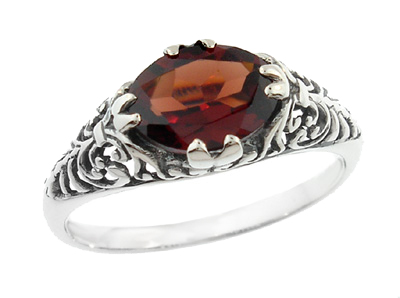 Edwardian Filigree Oval Almandine Garnet Promise Ring in Sterling Silver | Fleur De Lys