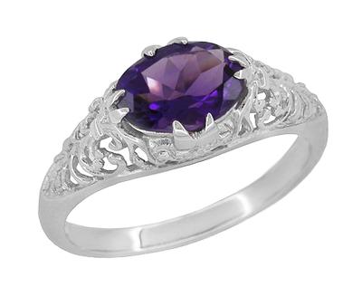 Edwardian Oval Amethyst Filigree Ring in 14 Karat White Gold