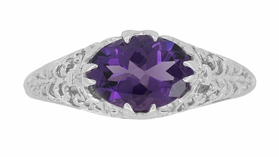 Edwardian Oval Amethyst Filigree Ring in 14 Karat White Gold - Item R799WAM - Image 3