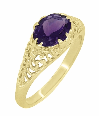 Edwardian Oval Amethyst Filigree Ring in 14 Karat Yellow Gold - Item R799YAM - Image 1
