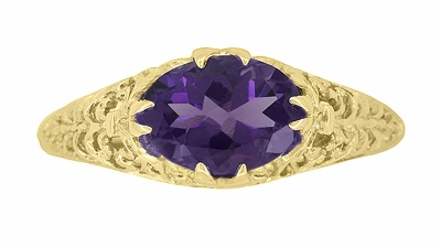 Edwardian Oval Amethyst Filigree Ring in 14 Karat Yellow Gold - Item R799YAM - Image 3