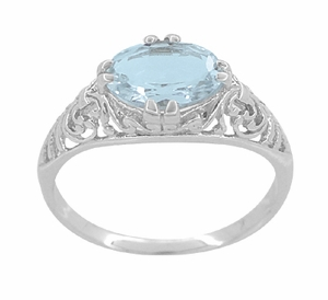 Edwardian Oval Aquamarine Filigree Engagement Ring in 14K White Gold | Fleur de Lys - Item R799A - Image 3