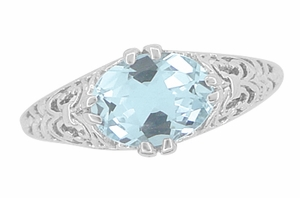 Edwardian Oval Aquamarine Filigree Engagement Ring in 14K White Gold | Fleur de Lys - Item R799A - Image 4