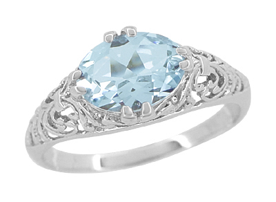 Edwardian Oval Aquamarine Filigree Engagement Ring in 14K White Gold | Fleur de Lys