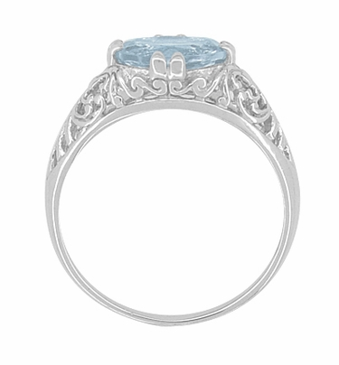 Edwardian Oval Aquamarine Filigree Engagement Ring in 14K White Gold | Fleur de Lys - Item R799A - Image 2