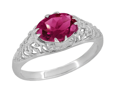 Edwardian Oval Rubellite Tourmaline Filigree East West Ring in 14K White Gold
