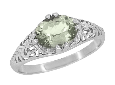 Edwardian Vintage Style Filigree Oval Green Amethyst Promise Ring in Sterling Silver | Prasiolite
