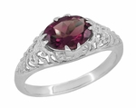Edwardian East West Oval Rhodolite Garnet Filigree Engagement Ring in 14K White Gold
