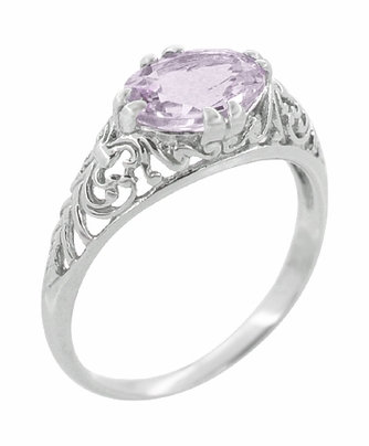 Edwardian Oval Rose de France Filigree Promise Ring in Sterling Silver - Item R1125RF - Image 1