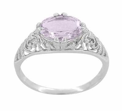 Edwardian Oval Rose de France Filigree Promise Ring in Sterling Silver - Item R1125RF - Image 3