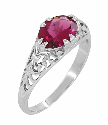 Edwardian Oval Rubellite Tourmaline Filigree East West Ring in 14K White Gold - Item R799WPT - Image 1