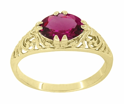 Edwardian Oval Rubellite Tourmaline Filigree Engagement Ring in 14 Karat Yellow Gold - October Birthstone - Item R799YPT - Image 2