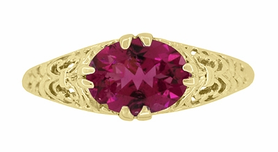 Edwardian Oval Rubellite Tourmaline Filigree Engagement Ring in 14 Karat Yellow Gold - October Birthstone - Item R799YPT - Image 3