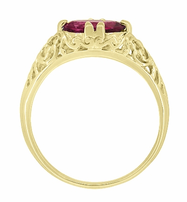 Edwardian Oval Rubellite Tourmaline Filigree Engagement Ring in 14 Karat Yellow Gold - October Birthstone - Item R799YPT - Image 4