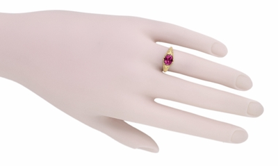 Edwardian Oval Rubellite Tourmaline Filigree Engagement Ring in 14 Karat Yellow Gold - October Birthstone - Item R799YPT - Image 5