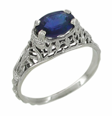 Edwardian Oval Sapphire Ring in 14 Karat White Gold - Item R614 - Image 1