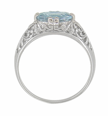 Edwardian Oval Sky Blue Topaz Filigree Engagement Ring in 14 Karat White Gold - Item R799WBT - Image 2