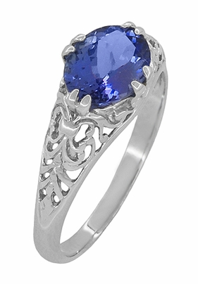 Edwardian Oval Tanzanite Filigree Ring in 14 Karat White Gold - Item R799TA - Image 1