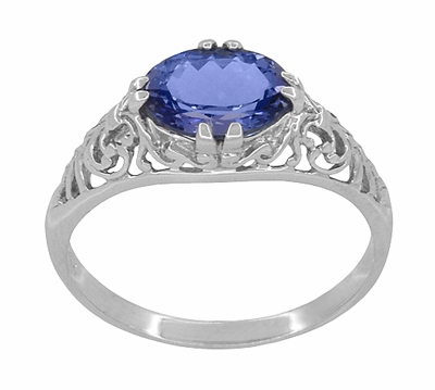 Edwardian Oval Tanzanite Filigree Ring in 14 Karat White Gold - Item R799TA - Image 2
