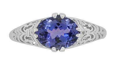 Edwardian Oval Tanzanite Filigree Ring in 14 Karat White Gold - Item R799TA - Image 4