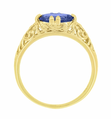 Edwardian Oval Tanzanite Filigree Ring in 14 Karat Yellow Gold - Item R799YTA - Image 3