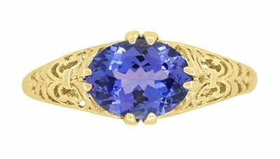 Edwardian Oval Tanzanite Filigree Ring in 14 Karat Yellow Gold - Item R799YTA - Image 4