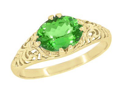 Edwardian Oval Tsavorite Garnet Filigree Engagement Ring in 14 Karat Yellow Gold