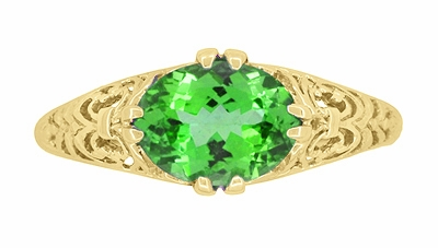 Edwardian Oval Tsavorite Garnet Filigree Engagement Ring in 14 Karat Yellow Gold - Item R799YTS - Image 4