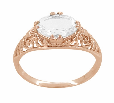 Edwardian Oval White Sapphire Filigree Engagement Ring in 14 Karat Rose Gold ( Pink Gold ) - Item R799RWS - Image 2