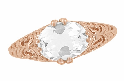Edwardian Oval White Sapphire Filigree Engagement Ring in 14 Karat Rose Gold ( Pink Gold ) - Item R799RWS - Image 4