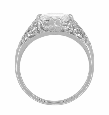 Edwardian Oval White Topaz Antique Style Filigree Engagement Ring in 14 Karat White Gold - Item R799WWT - Image 2