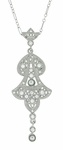 Edwardian Pearl Lavalier Drop Pendant Necklace in Sterling Silver