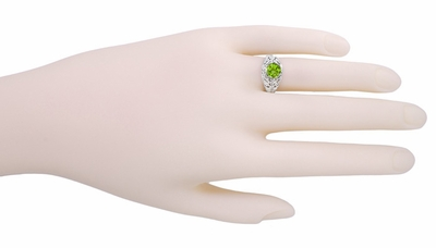Edwardian Peridot Filigree Ring in 14 Karat White Gold - Item R712PER - Image 2