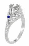 Edwardian Platinum Engagement Ring Mounting with Side Sapphires and Diamonds