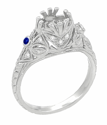Edwardian Platinum Engagement Ring Mounting with Side Sapphires and Diamonds - Item R679PS - Image 1
