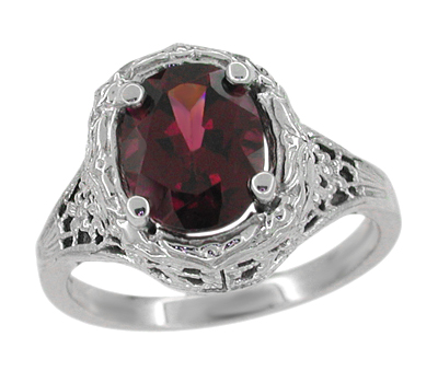 Edwardian Rhodolite Garnet Ring in 14 Karat White Gold