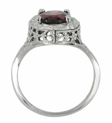 Edwardian Rhodolite Garnet Ring in 14 Karat White Gold - Item R616 - Image 3