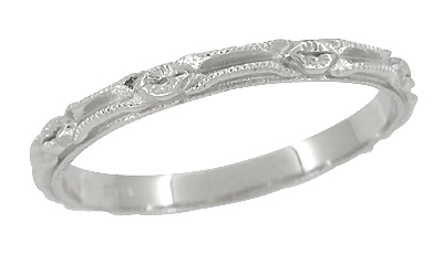 Edwardian Ribbons Wedding Band in 14 Karat White Gold