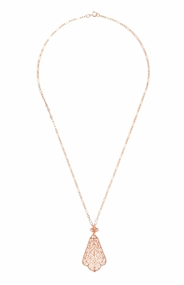 Edwardian Rose Gold Vermeil Scalloped Leaf Dangling Filigree Pendant Necklace  - Item N169R - Image 2