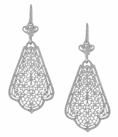Edwardian Scalloped Leaf Dangling Sterling Silver Filigree Earrings