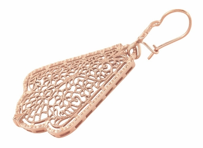 Edwardian Scalloped Leaf Dangling Sterling Silver Filigree Earrings with Rose Gold Vermeil - Item E169R - Image 1