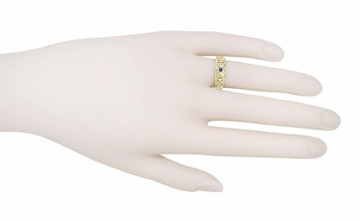 Edwardian Scroll Filigree Sapphire Ring in 14 Karat Yellow Gold - Item R197SY - Image 2