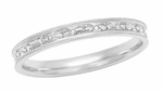 Edwardian Vintage Design Engraved Flowers Womens Wedding Ring in 18K White Gold | Size 6.5