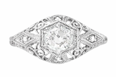 Edwardian White Sapphire Scroll Dome Filigree Engagement Ring in 14 Karat White Gold - Item R139WWS - Image 1