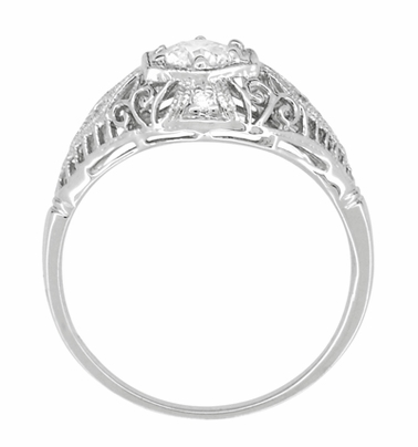 Edwardian White Sapphire Scroll Dome Filigree Engagement Ring in 14 Karat White Gold - Item R139WWS - Image 3