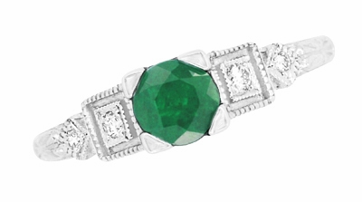 Emerald and Diamond Art Deco Engagement Ring in 18 Karat White Gold - Item R155 - Image 3